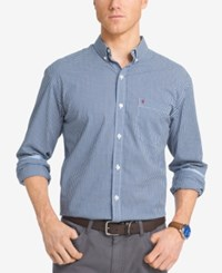 Izod Men's Big And Tall Gingham Long Sleeve Shirt Midnight