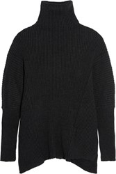 Ann Demeulemeester Oversized Ribbed Alpaca Blend Sweater Black
