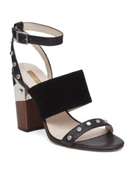 Louise Et Cie Kellyn Studded Triple Strap Leather Sandals Black