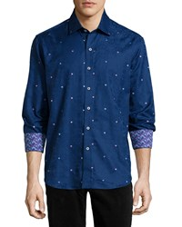 Robert Graham Wave Damask Print Long Sleeve Woven Shirt Navy