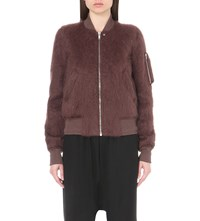 Rick Owens Zipped Mohair And Wool Blend Biker Jacket Macassar