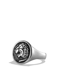 David Yurman Petrvs Lion Signet Ring Silver Black