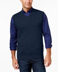 Club Room Men's Big And Tall Cable Knit Sweater Vest Navy Blue