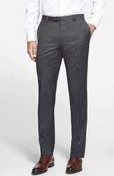 Men's Hugo 'Heibo' Flat Front Wool Blend Trousers Charcoal
