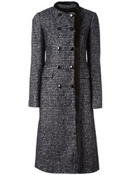 Dolce And Gabbana Fur Trim Boucle Coat Black