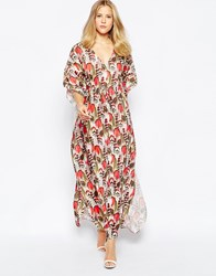 Traffic People Kaftan Maxi Dress In Feather Print Red