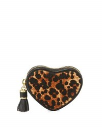 Neiman Marcus Leopard Heart Shaped Coin Purse Natural Bl