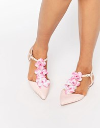 Asos Leaf Pointed T Bar Ballet Flats Pale Pink