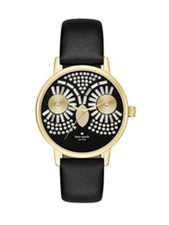 Kate Spade Metro Night Owl Crystal Goldtone Stainless Steel And Leather Strap Watch Gold Black