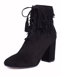 Aquazzura Woodstock Fringe Lace Up Bootie Black
