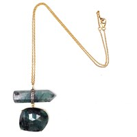 Nush Double Drop Natural Emerald Necklace Green