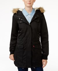 Levi's Hooded Faux Fur Sherpa Lined Jacket Black
