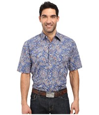Stetson Brocade Paisley Short Sleeve Woven Snap Shirt Blue Men's Clothing
