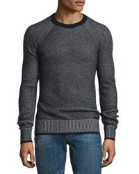 Belstaff Long Sleeve Crewneck Ribbed Sweater Black Pale Gray Melange Black Pale Grey M