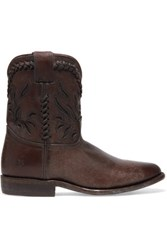 Frye Wyatt Cutout Distressed Leather Ankle Boots Dark Brown