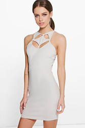 Boohoo Eve Cut Out Detail Bodycon Dress Grey