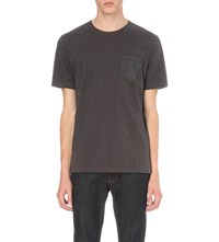 The Kooples Floral Patch Pocket Cotton Jersey T Shirt Grey