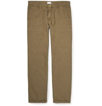 Gant Cotton And Linen Blend Canvas Trousers Green