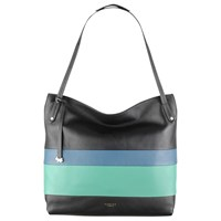 Radley Willow Stripe Leather Large Zip Top Tote Bag Black