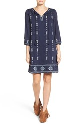 Caslonr Women's Caslon Three Quarter Sleeve Embroidered Shift Dress Navy Peacoat Embroidery