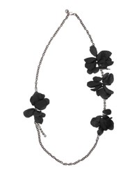 Lanvin Long Chain Flower Necklace Black