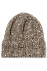 Stella Mccartney Knitted Wool Alpaca And Silk Blend Beanie Multi