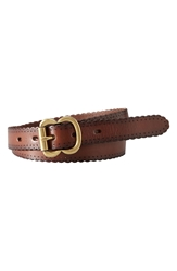 Fossil Scallop Edge Leather Belt Brown