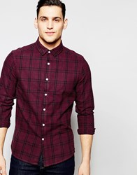 Asos Grid Check Shirt In Burgundy With Long Sleeves Red