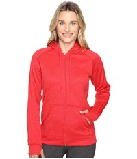 Adidas Team Issue Fleece 3 Stripes Full Zip Hoodie Ray Red Heather Ray Red Women's Sweatshirt