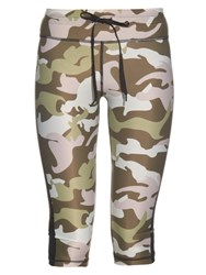 The Upside Camouflage Print Cropped Performance Leggings Green