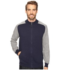 Agave Vail Long Sleeve Cotton Fine Gauge Navy Gray Men's Long Sleeve Pullover Blue