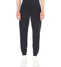 Alexander Mcqueen Skull Embroidered Cotton Jersey Jogging Bottoms Navy