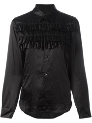 Comme Des Garcons Ruffled Panel Longsleeved Shirt Black