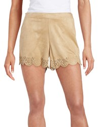 Kensie Scalloped Lace Effect Shorts Beige