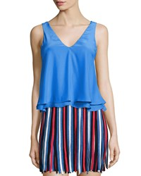 Parker Peter Layered Hem Sleeveless Top Blue