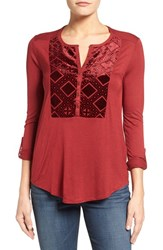 Lucky Brand Women's Burnout Velvet Bib Knit Top Merlot