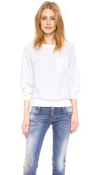 Band Of Outsiders Silk Sweatshirt Top Bit Of Blue