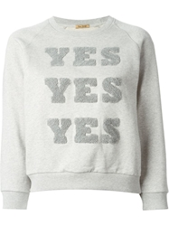 Peter Jensen 'Yes Yes Yes' Cropped Sweatshirt Grey