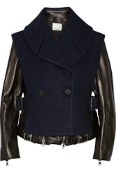 3.1 Phillip Lim Convertible Leather And Wool Blend Biker Jacket