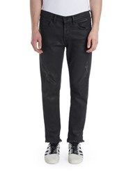 Off White Cotton Slim Fit Jeans Grey