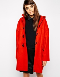 Asos Duffle Coat In Cocoon Fit Red