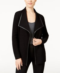 Jm Collection Faux Leather Trim Cardigan Only At Macy's Deep Black