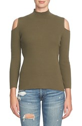 1.State Women's Cold Shoulder Mock Neck Sweater Olive Tree