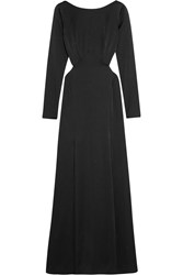 Temperley London Madena Cutout Satin Gown Black