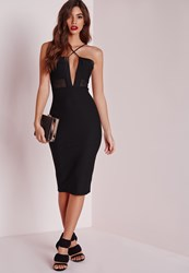Missguided Strappy Mesh Insert Midi Dress Black Black