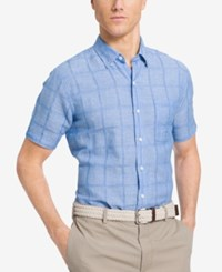 Izod Men's Big And Tall Windowpane Dobby Short Sleeve Shirt Blue Revival