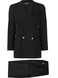 Chanel Vintage Double Breasted Suit Black