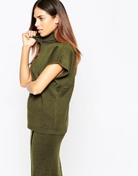 Warehouse Funnel Neck Top Olive