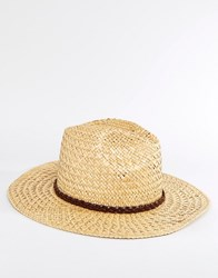 Catarzi Straw Fedora With Plaited Leather Band Beige