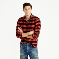J.Crew Tall Cotton Wool Elbow Patch Shirt In Red And Black Plaid